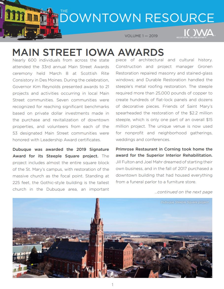 Downtown Resource Newsletter, Volume 1, 2019